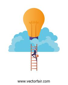 businessman with stair and light bulb avatar character