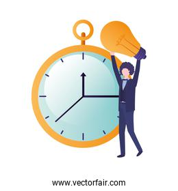 businessman with clock and light bulb character