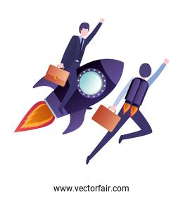 businessmen with rocket avatar character