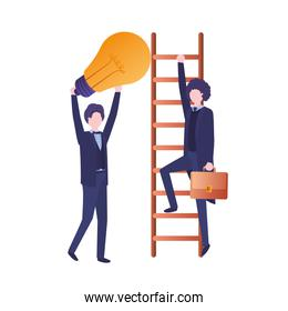 businessmen with stair and light bulb avatar character
