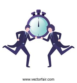 businessmen with clock avatar character