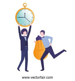 isolated businessmen with clock and light bulb character