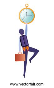 businessman on rocket and clock avatar character