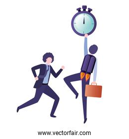 businessmen with rocket and clock avatar character