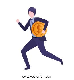 businessman  with dollar sign avatar character