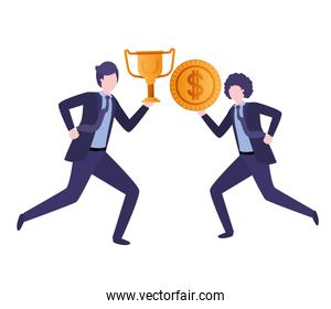 businessmen with trophy and coin character