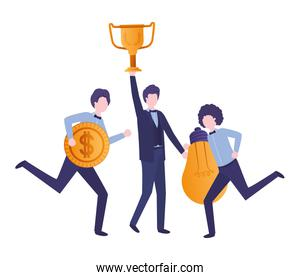 businessmen with trophy and set icons