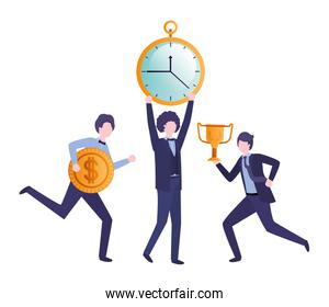 businessmen with clock and set icons