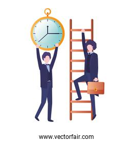 businessmen with stair and clock avatar character