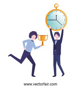 businessmen with clock and trophy avatar character