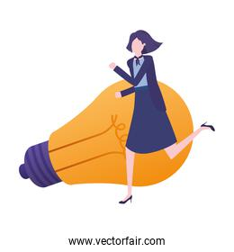 businesswoman with light bulb avatar character