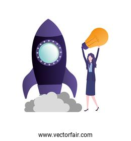businesswoman with rocket and light bulb character