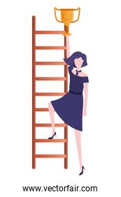 businesswoman with stair and trophy avatar character