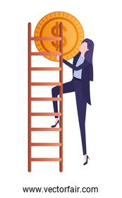 businesswoman with dollar sign and stair