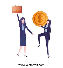 businesswomen with dollar sign avatar character