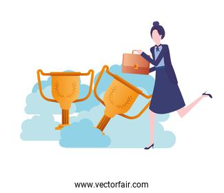 businesswoman in the clouds with trophies character