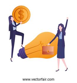 businesswomen with dollar and light bulb