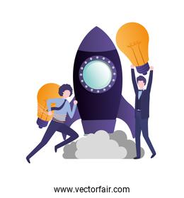 businessmen with rocket and light bulb
