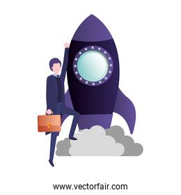 businessman with rocket avatar character