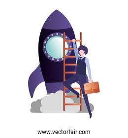 businessman with rocket and stair avatar character