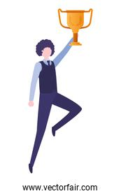 businessman with trophy avatar character
