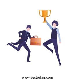 businessmen with trophy avatar character