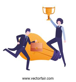 businessmen with trophy and light bulb character