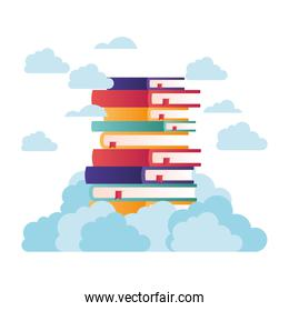 stack of books on top of cloud isolated icon
