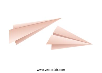 paper planes isolated icon