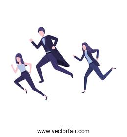 group of business running avatar character