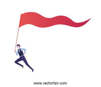 businesswoman running with banner avatar character