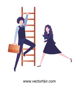 business couple with stair avatar character