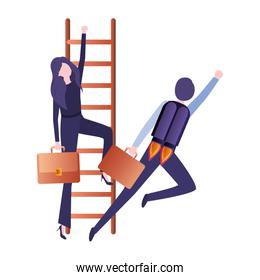 business couple with stair and rocket character