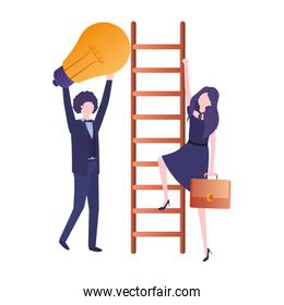 business couple with stair and light bulb  character