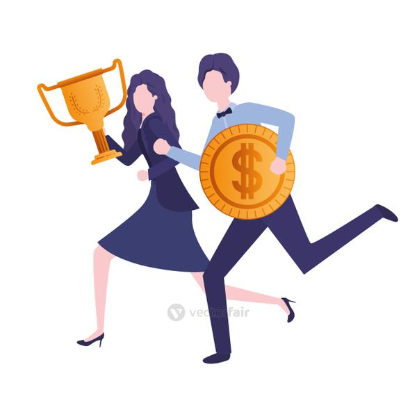 business couple with trophy and coin character