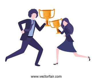 business couple with trophies avatar character