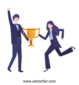 business couple with trophy avatar character