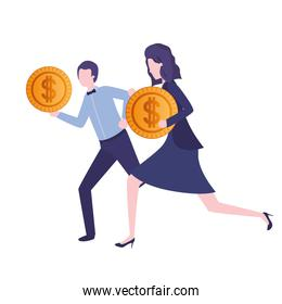 business couple with dollar sign avatar character