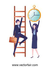 business couple with stair and clock avatar character