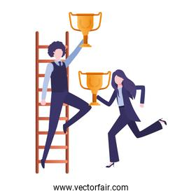 business couple with stair and trophy avatar character