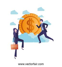 business couple with currency avatar character