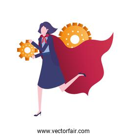 businesswoman with gear avatar character
