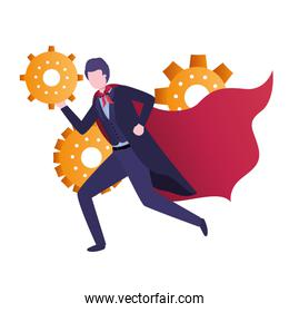 businessman with gear avatar character