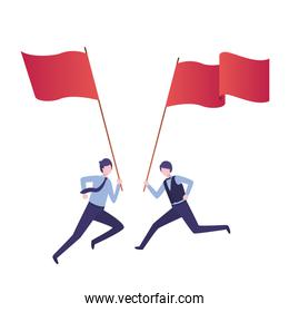 businessmen running with flag avatar character