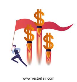 businessman with dollar sign and flag
