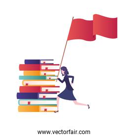 businesswoman with stack of books and flag