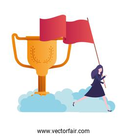 businesswoman with trophy and flag