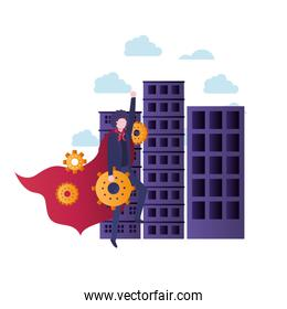 businessman with buildings and hero cloak