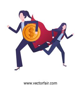 businesswomen with hero coat and currency