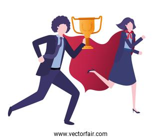 business couple with hero coat and trophy
